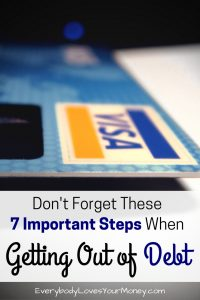 Image of credit card referencing important steps when getting out of debt