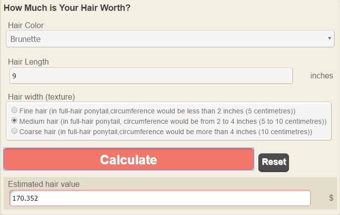 hair worth calculation